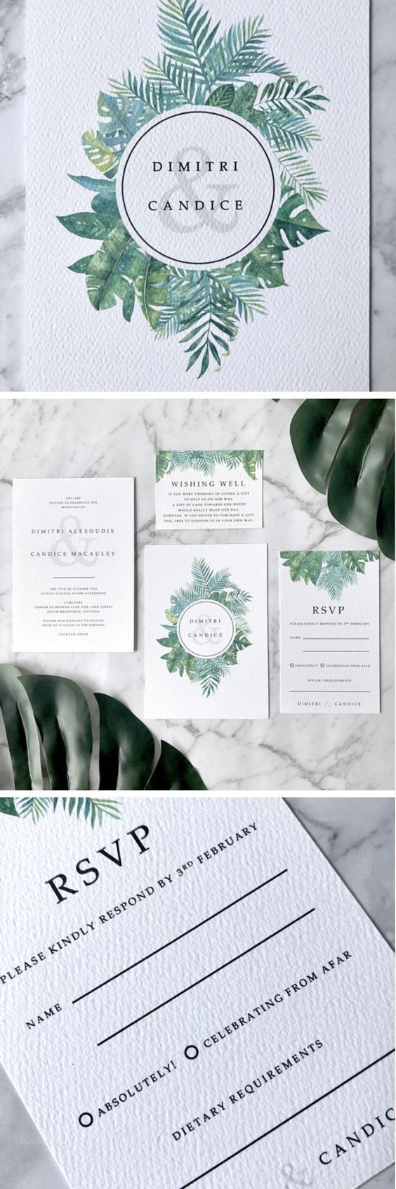 love quotes for invitations%0A Modern Boho Wedding Invitation Suite  perfect for a Tropical Lush Greenery  theme  Made to Order and fully customisable to include any wording you  would