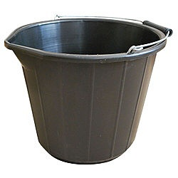 NCD black polythene builder's bucket - 3 gallons. £1.00