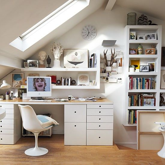 Love this attic office