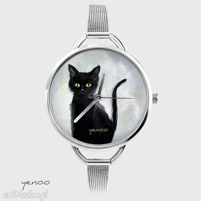 Zegarek, bransoletka - Czarny kot - szary. $35