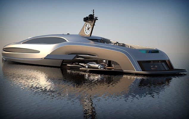 Awesome Yacht concept, it has a custom limo in its garage.