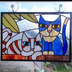 Stained Glass Panel Two Cats On A Wall by helixartandglass on Etsy