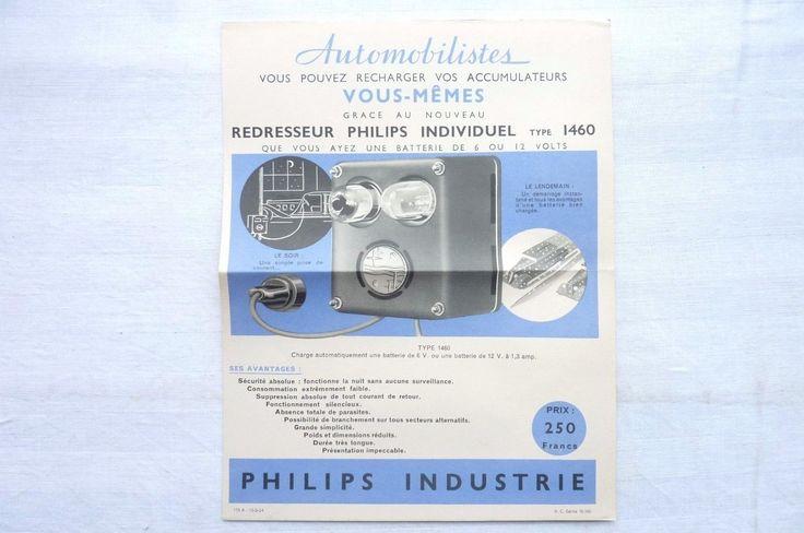 PHILIPS-INDUSTRIE 1934- REDRESSEUR PHILIPS INDIVIDUEL TYPE 1460  Réf 01 | Collections, Objets publicitaires, Publicités papier | eBay!