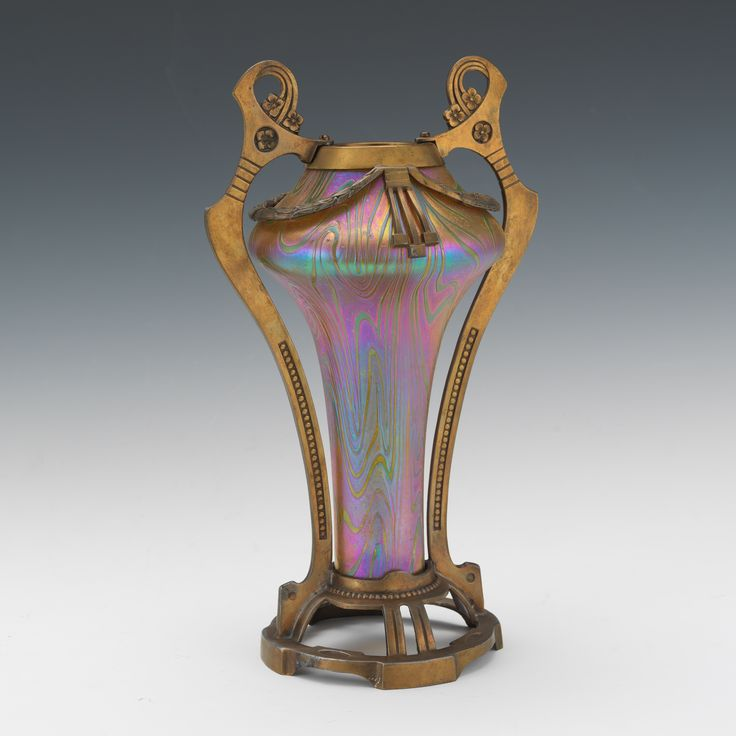 Attributed to Loetz, Art Nouveau Glass and Gilt Metal Vase, 09.12.16, Sold: $796.5