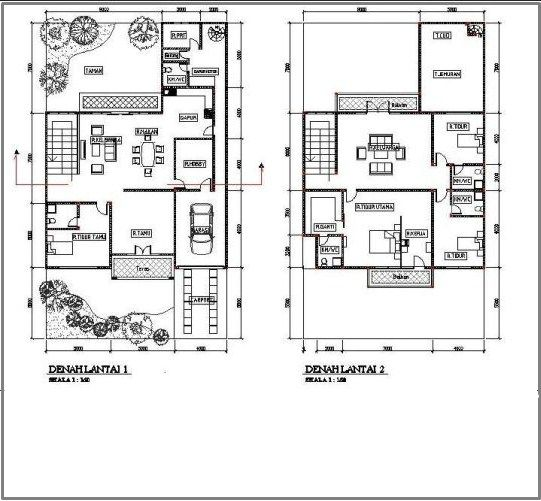 Gambar Contoh Denah Rumah Minimalis 2 Lantai Modern 6