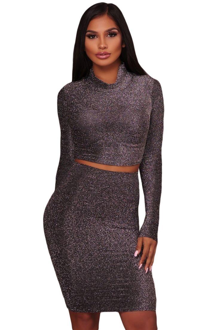 Sukienka 2 w 1 top+spódnica srebrna brokatowa golf