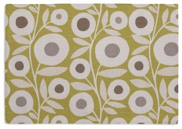 Chartreuse Graphic Flower Print Custom Placemats, Set of 4 modern table linens