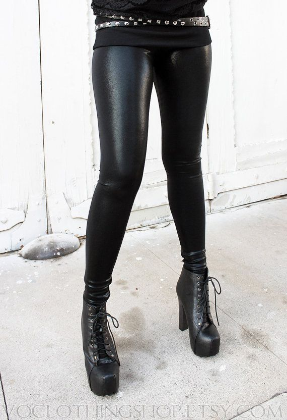 black metallic stardust spandex leggings from voclothingshop.etsy.com