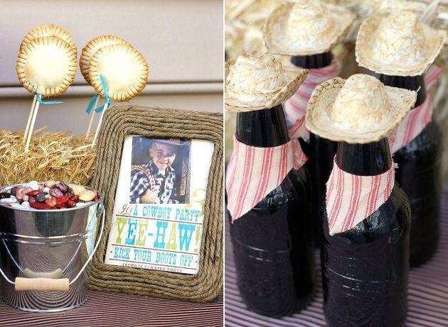 Cowboy Themed Party Ideas Bottle Decorations Bandanas