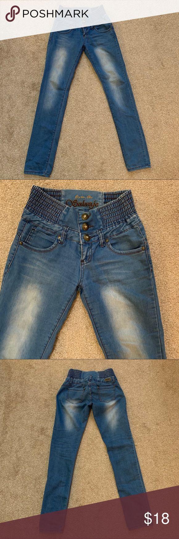 salvaje elastic waistband bubble jeans description skinny jeans
