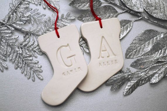 This set includes 2 handcrafted stocking-shaped ornaments, stamped with one letter. I wonder if I could make these with salt dough and stamps to be gifts??