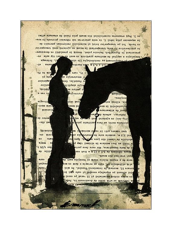 Handmade Ink Drawing Art Painting Gift Girl With Horse by rcolo, $30.00