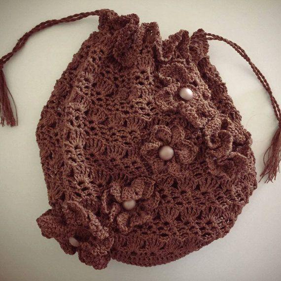 Crochet Bag Handbag With Flowers Short Strap