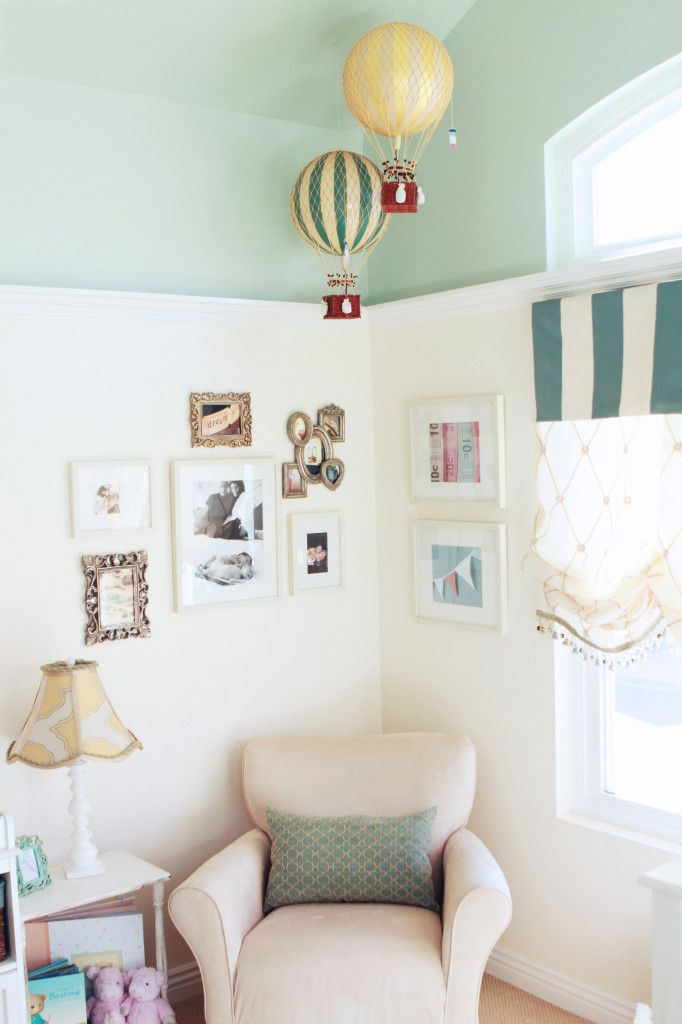 LOVE!!! Whimsical Hot Air Balloons in this Vintage-inspired Nursery