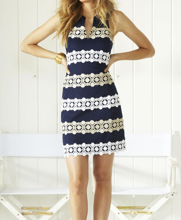 Lilly Pulitzer Augusta Shift Dress in  True Navy Anchor Jacquard Boatwheel Lace Trim Multi