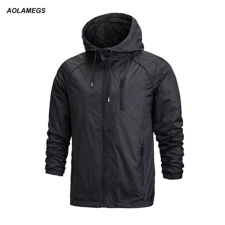 Aolameg Jacket Men Fashion Thin Windbreaker Jacket Zipper Coats Outwear Spring Hooded Mens Jackets Brand Clothing Veste Homme #Affiliate