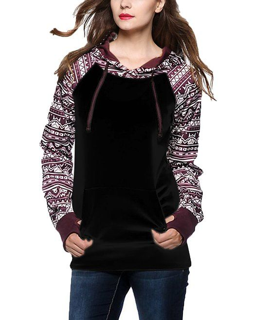 Geometric Tribal Print Thumb Hole Drawstring Hooded Sweatshirt