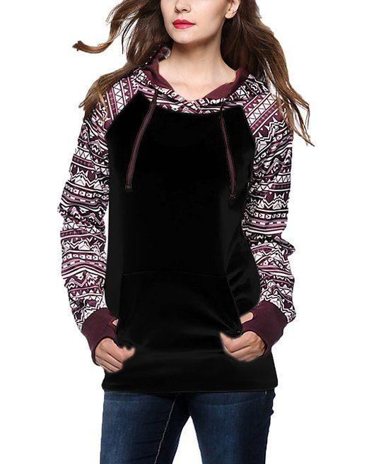 Geometric Tribal Print Thumb Hole Drawstring Hooded Sweatshirt