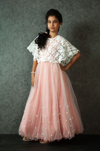 KG16-118 - Cape style net gown with lace