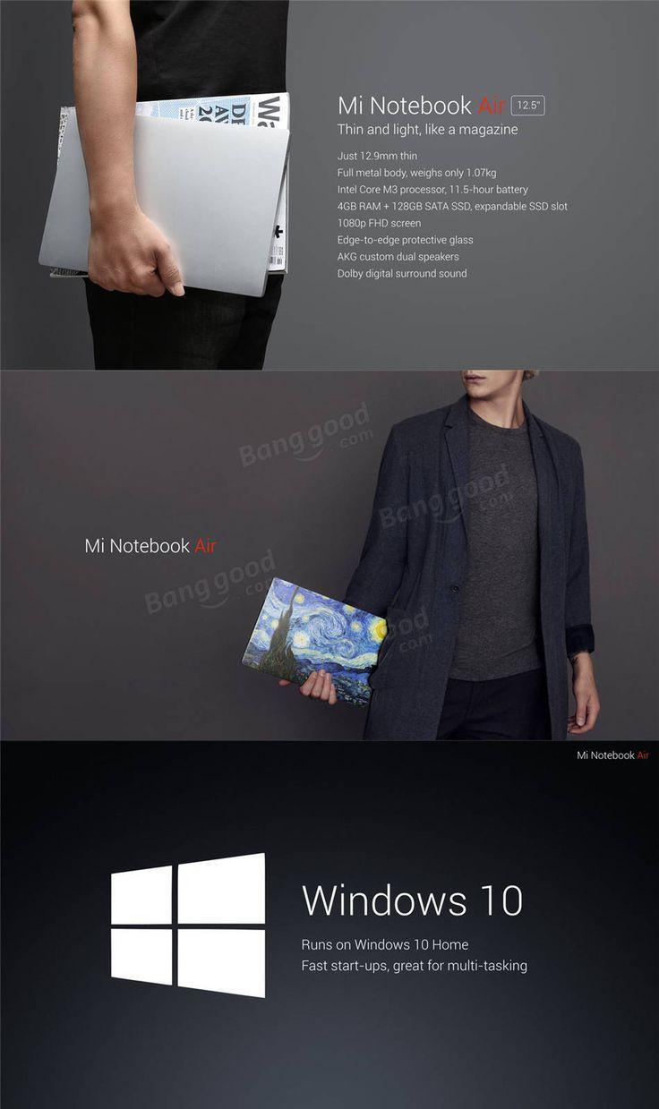 Original Xiaomi Mi Notebook Air Windows 10 12.5 Inch Intel Core M3-6Y30 Dual Core 4GB RAM 128GB SATA SSD FHD 1920*1080 Bluetooth 4.1 Laptop