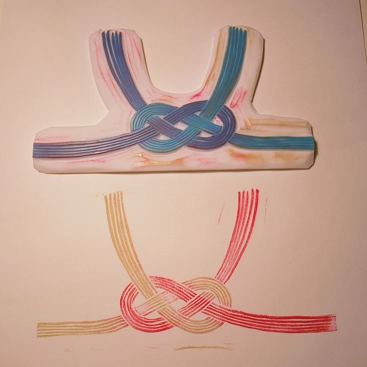 MIZUHIKI (decorative Japanese cord made from twisted paper) rubber stamp02 水引消しゴムハンコ02 by NanaAkua