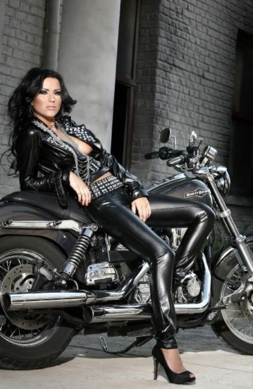 Naked biker girls in leather