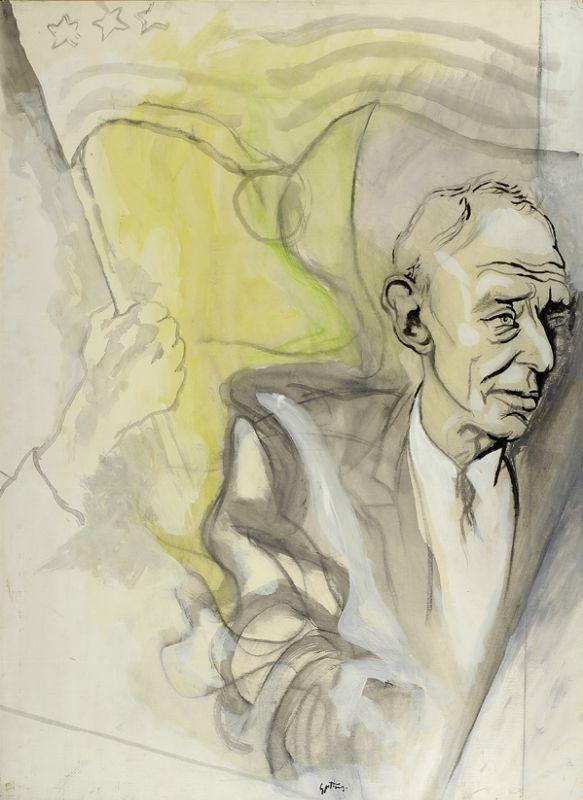Guttuso Renato : Ritratto di Oppenheimer  (1965)  - Olio carta riportata su tela - Asta Autori dell800-900, Arte Moderna e Contemporanea, Grafica ed Edizioni - Galleria Pananti - Casa dAste