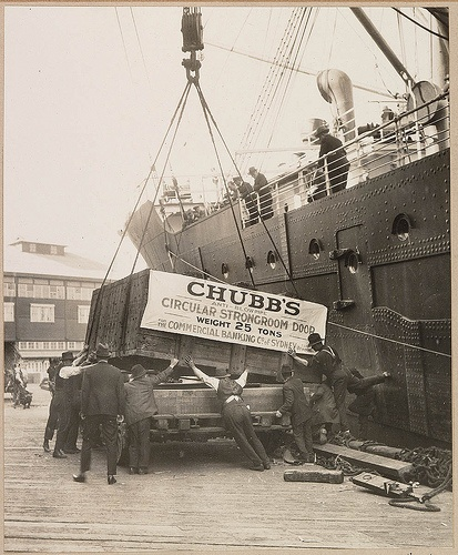 Delivery of Chubb safe for Commercial Banking Co., c.1920s, by unknown photographer.  State library of NSW
