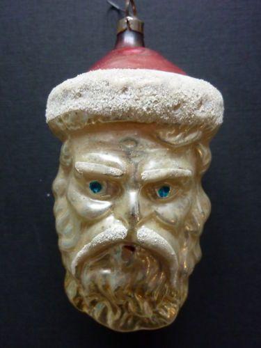 "Vintage Antique ""Santa's Head"" Glass Christmas Ornament Germany | eBay"