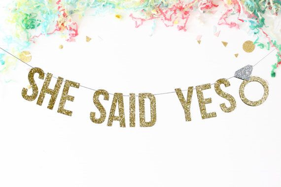 She Said Yes Banner | engagement party | bridal shower | party banner | party decor | bachelorette party | wedding reception | wedding decor