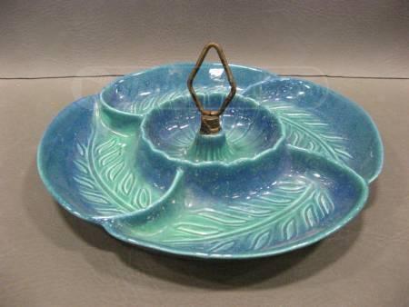 vintage california pottery relishchip tray