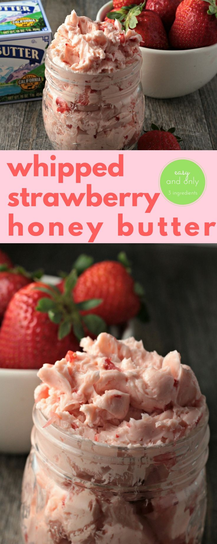 #AD #SealsForGood Whipped Strawberry Honey Butter combines butter, honey and fresh strawberries to make this classic fruit flavored butter. Easy delicious farm fresh food. @RealCaliforniaMilk