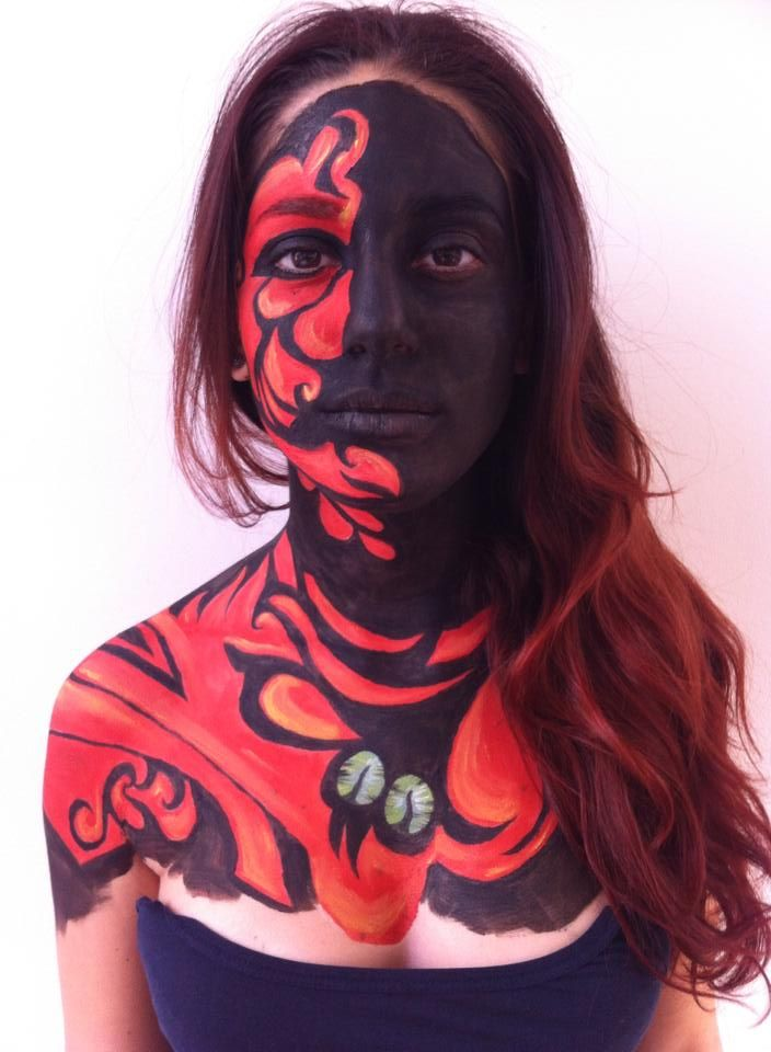abstract dragon bodypainting