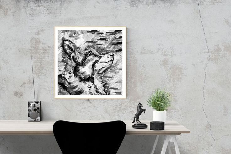Snow wolf poster on the wall