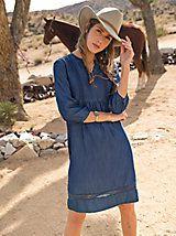 Indigo Dress With Lace   Sahalie
