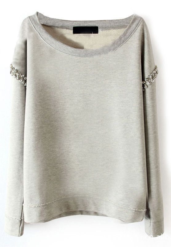 SheIn offers Light Grey Long Sleeve Rhinestone Pullover Sweatshirt & more  to fit your fashionable needs.