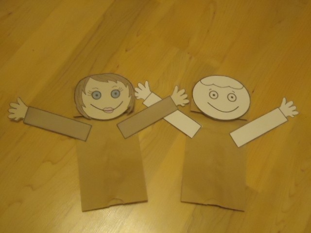 Adam and Eve paper lunch bag craft. Would be cute to cover in paper leaves