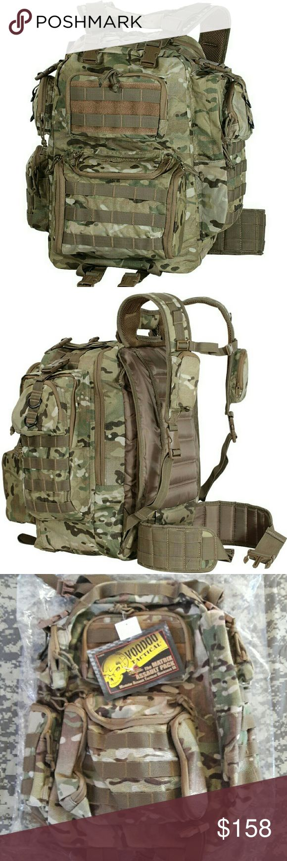 """Tactical Backpack Matrix Assault Pack Multicam Updated and enhanced in 2009, this larger Voodoo Tactical MATRIX rucksack 20""""T x 11""""W x 7""""D) combines the best features of the newest high-tech civilian packs with those demanded by the tactical community.  This pack was not designed in a vacuum; military, law enforcement and multiple federal agencies provided input into the design and helped field test this backpack. The result is a comfortable, feature-rich pack designed for the future instead…"""