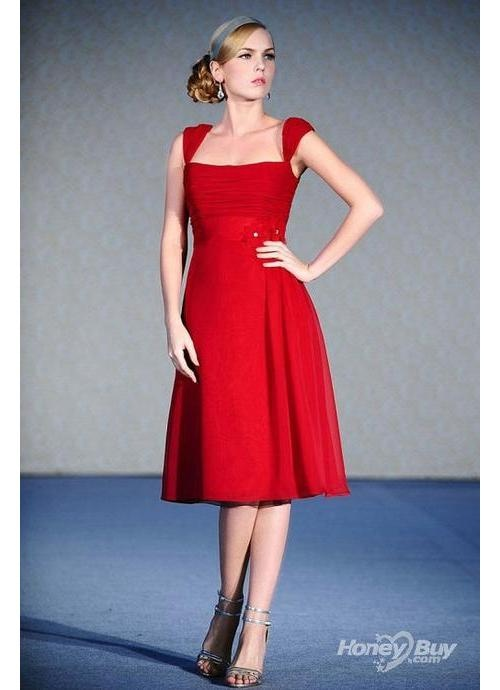 boat neckline red short wedding and bridesmaid dress
