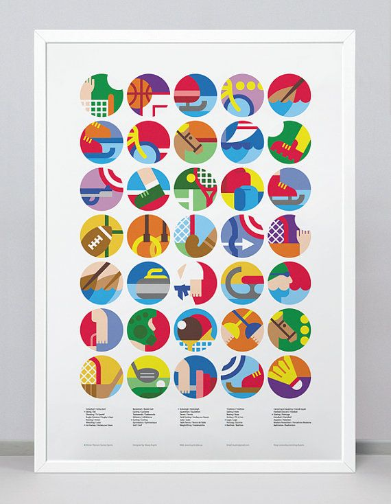 Poster with Sport Icons / Pictograms / Symbols corresponding to each of The…