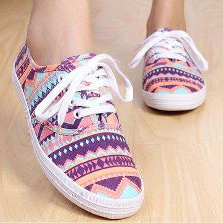 Geometric Pattern Leopard Print Low Top Sneaker Flat Shoes