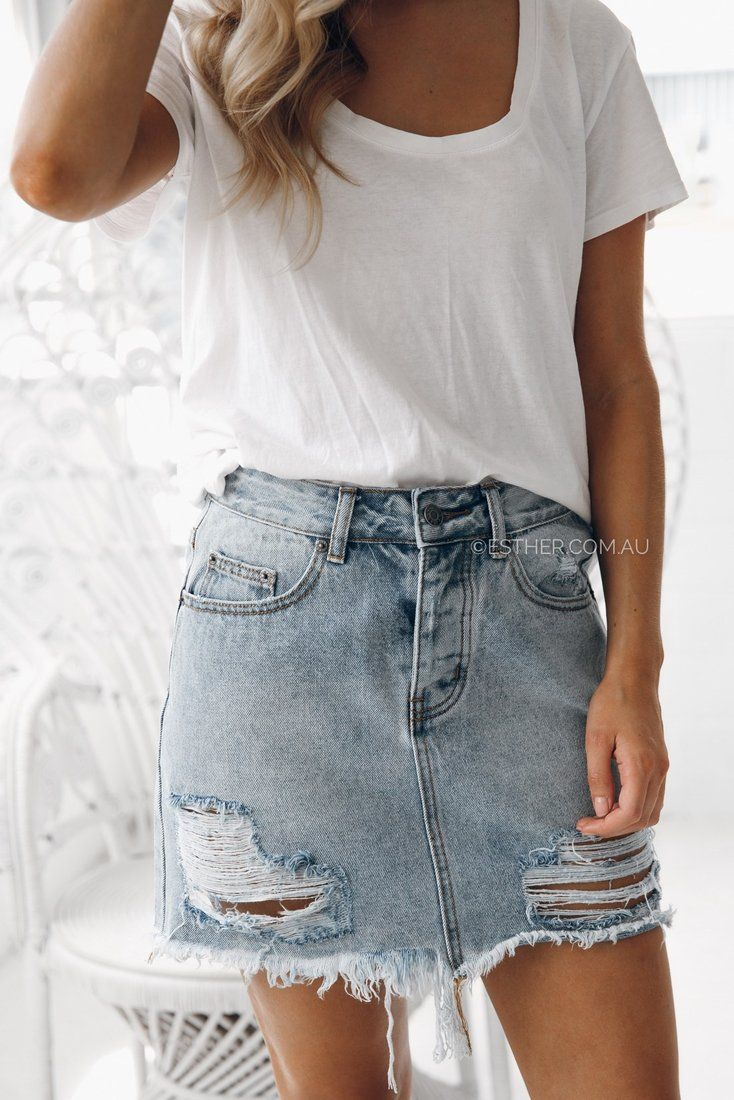 tash Distressed Denim Skirt
