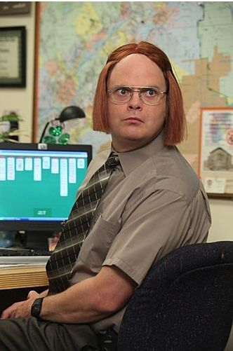 Dwight K. Schrute has wigs The office show, The office