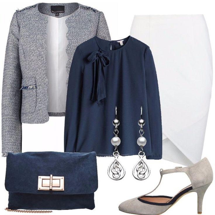 Discreto+ed+elegante+questo+outfit+pensato+per+un'occasione+speciale:+blazer+blu,+in+una+particolare+trama+in+fantasia,+scollo+tondo,+motivo+di+frange,+tasche,+abbinato+a+gonna+a+tubino+bianca,+lunghezza+al+ginocchio,+fondo+asimmetrico.+Camicia+blu,+scollo+tondo,+fiocco+laterale,+Mary+Jane+grigia,+dettagli+blu,+pochette+navy,+tracolla,+orecchini+pendenti+con+perla.