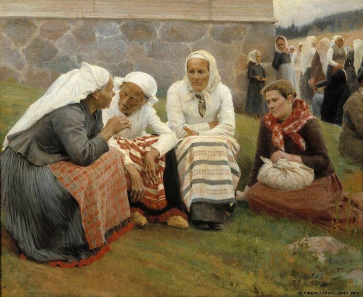 Ruokolahden eukkoja kirkonmäellä (1887) by Albert Edelfelt