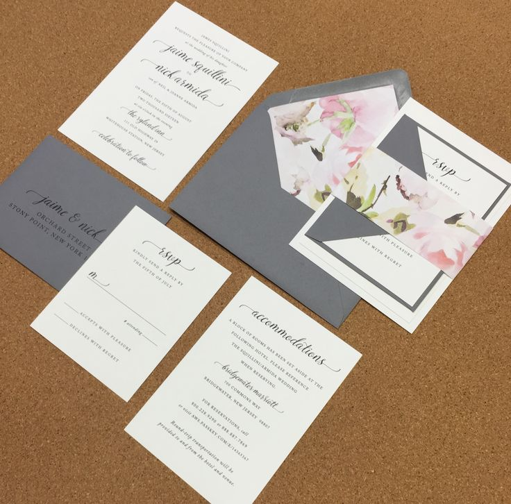 champagne blush wedding invitations%0A Wedding Invite  Simple  Clean  Script  Grey  Black  White  Floral