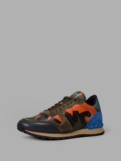 VALENTINO Valentino Men'S Multicolor Camouflage Rockrunner Sneakers. #valentino #shoes #sneakers