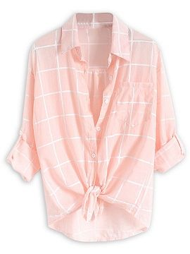 Shop Pink Plaid Print Roll Up Sleeve Semi-sheer Shirt from choies.com .Free shipping Worldwide.$9.9