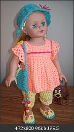 18: doll...free pattern for top...capris...shoes...hat...bag...