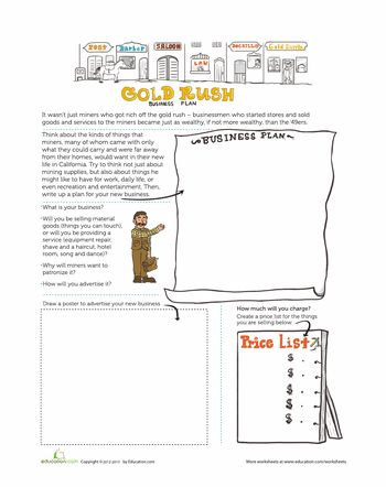 This is a gold rush business plan worksheet.  This could be used in a history class to introduce the effects of the economy.